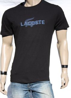 Mens T Shirt LACOSTE Short Sleeve Crew Cotton Black Pullover Shirts Sz 6/L NWT #Lacoste #GraphicTee