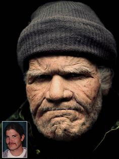 Old Age makeup, very detailed and looks realistic