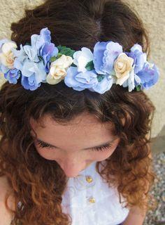 Blumenkrone  Flowercrown von EsmeeFeliceLove auf Etsy, €39.00  #flowercrown #pastel #blue #summerdream