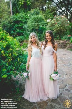 Mix and Match Revelry bridesmaid dresses and separates in blush tones