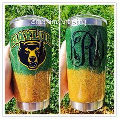 Personalized Baylor Bears glittered & monogrammed Yeti. Yes please!!