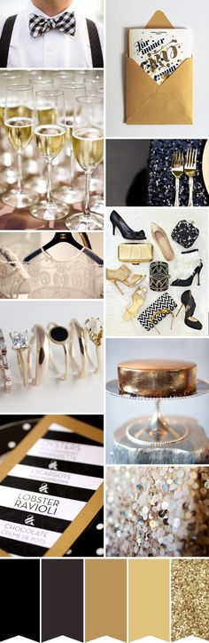 Glitter and glamour - black tie wedding inspiration. Elegant ideas to turn your black tie wedding into a celebration to remember.