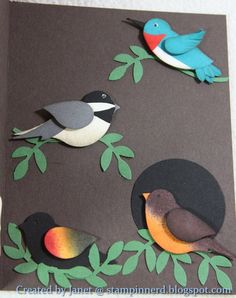 by Janet Yates..... Hummingbird, Chickadee, Robin and Red Winged Blackbird