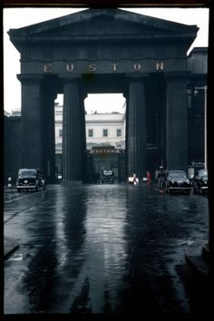 """""""You would be forgiven for thinking this rare colour photo of Euston Railway Station was in black and white, considering how dark and stained the brickwork was. The great arch was demolished in 1961 after proposals to move it proved too costly. Vintage London, Old London, Euston Station, East End London, Bethnal Green, London Architecture, British Rail, Old Trains, London Transport"""