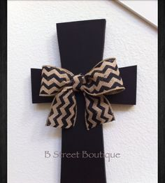 Black with chevron burlap bow wooden wall cross by B Street Boutique  www.facebook.com/bstreetboutique  www.etsy.com/shop/bstreetboutique