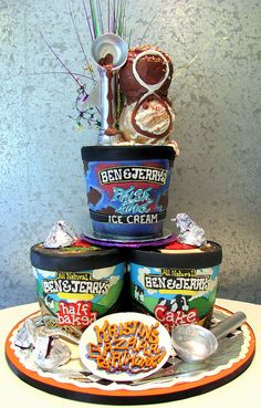 Ben & Jerry's ice cream cake, but is it an ice cream cake?This cake is a great work of art. Gorgeous Cakes, Pretty Cakes, Cute Cakes, Amazing Cakes, Crazy Cakes, Fancy Cakes, Unique Cakes, Creative Cakes, Ice Cream Party