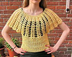 Fledermausärmelshirts - Fledermaus - Häkel-Top gelb 36 bis 38 - ein Designerstück von strickmaus bei DaWanda