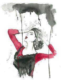 "Flamenco in the Rain 8.5 x 11"" Print of original watercolor illustration on Etsy, $20.00"