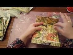 Tutorial: Making ENVELOPES From OLD BOOK PAGES - Several are multiple layered by decopaging single layers of napkins, old pattern pieces, lace, trim, also distressing. Fhe also just water colored onto printer paper and used that for envelopes. Use same technique to make tags, journaling pages & note cards. - YouTube