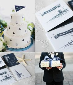 Sea Shell Beach Wedding Simple and elegant nautical invitations, nautical stationery. Navy stripes and anchor, blue and white