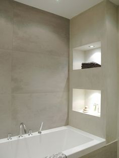 grey tile - mudroom - carve outs in the glass mosaics