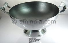 Crystal Handle Aluminium Champagne Cooler Bowl. Pewter Finish.Manufactured by Super Fine Handicrafts,India