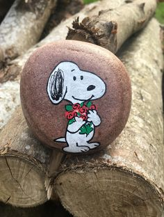 Snoopy roses painted rock