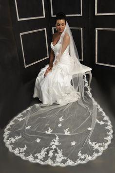 Beaded Lace Cathedral Length Wedding Veil Elena Designs E1152L - Affordable Elegance Bridal -