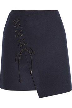 Vanessa Bruno Lace-up wool-blend felt skirt   NET-A-PORTER