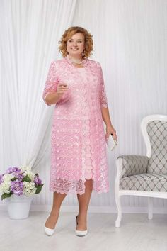Mid-Calf Plus size Mother of the bride dress with jacket Pink lace women's outfits Work Dresses For Women, Plus Size Prom Dresses, Nice Dresses, Clothes For Women, Mermaid Prom Dresses Lace, Lace Dress, Mom Dress, Mothers Dresses, Custom Dresses