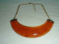 kjl mod necklace rootbeer lucite gold tone - Quality Vintage Jewelry