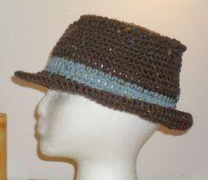 Womans  Fedora Hat  Brown Tweed with Aqua Tweed Band