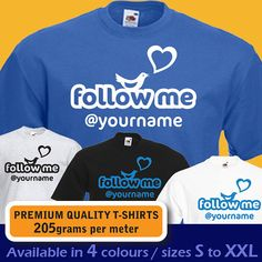 PERSONALISED follow me at Twitter custom name womens mens T-shirt birthday present gift idea