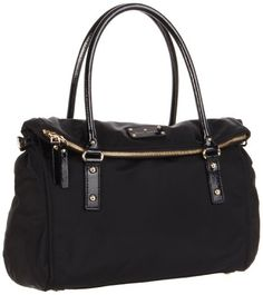 $348.00-$348.00 There's no doubt that you know how to dress. Your style is sophisticated and impeccably sweet. Add another layer of charm to your image with the Kate Spade New York Leslie bag! ; Chic handbag made of nylon with patent leather trim. Holds your wallet, keys, cell phone, sunglasses, cosmetic case and a bottle of water. Dual handles. Flat bottom. Zippered fold-over closure. Playful pol ...