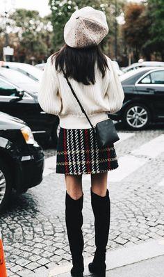 street style paris fashion week plaid skirt
