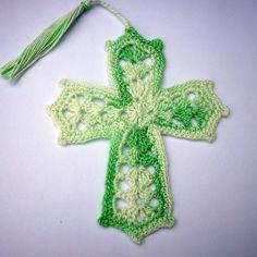 crocheted cross bookmark | Crochet Cross Tassled Bookmark Mint Green and by mattscraftywife