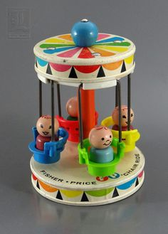 ... Vintage AMUSEMENT PARK - CHAIR RIDE with Wooden Figures by Fisher-Price circa 1960s |