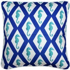 A simple and pleasing argyle lattice pattern in capri blue is combined with the delicate image of the seahorse on this 20 inch square throw pillow.