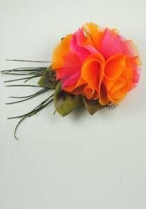 Bridal Evening Happy Flower Clip--Style # 1098. silk, peacock & pheasant feather