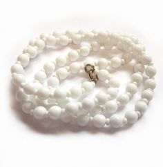 Vintage White Milk Glass Bead Necklace