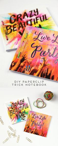 DIY Paperclip Rubber Band Book BindingDo you want to make a really quick and easy notebook? All you need is a rubber band and paperclip.    For more Book Binding DIYs including Japanese Stab Binding go here.   Find this DIY Paperclip Rubber Band Book Binding Hack at Gathering Beauty here.