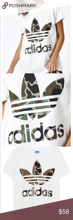 NWT Camo trefoil ADIDAS tee Brand new with tags Camo Adidas Oversized Tee. I have a small and extra small available. Perfect condition with tags attached. adidas Tops Tees - Short Sleeve