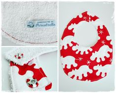 Bib  Fabric 100% cotton, back in white terry cloth.  Close with a metal snap.  Machine wash at 40ºC.  Dim. 22x35 cm