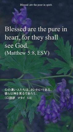 Blessed are the pure in heart, for they shall see God. (Matthew 5:8, ESV)心の清い人たちは、さいわいである、 彼らは神を見るであろう。 (口語訳 マタイ 5:8)