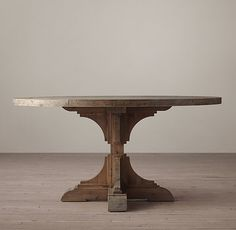"RH 20th C. Reclaimed Pine Trestle Round Dining Table $1185. 60"" round, 30"" tall"
