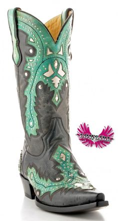 Cowgirl Clad Company - Black w/ Green Corral Boot