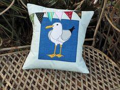 Make an appliquéd seagull cushion. Perfect for a beach house. Threading My Way