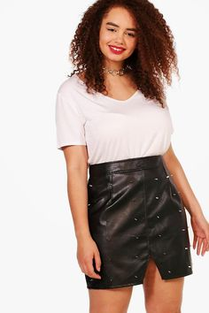 f8384c878dfc Plus Emma Studded Belt Mini Skirt Studded Belt, Boohoo, Plus Size Fashion,  Leather