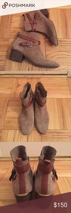 Coach Paulina Bootie GREAT CONDITION - Coach Paulina bootie in tan with  brown straps and gold 9e4a413665f55