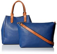 SOCIETY NEW YORK Womens Two In One Tote NavyCognac *** Read more  at the image link.