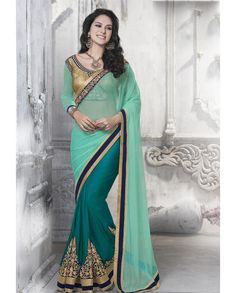 Light teal green and dark green half and half sari with embroidered pleats 1. Light teal green and dark green net art silk half and half sari2. Golden embellished border3. Comes with matching unstitched blouse