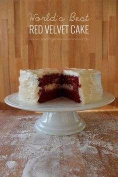Seriously the best red velvet cake I have ever had. So dang moist and delicious, you'll never make a red velvet box mix again!