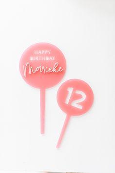 3D Cake Topper Happy Birthday 'Marieke' altrosa transparent - Fräulein K. Sagt Ja Sag Ja, Happy Birthday, Cake Toppers, 3d, Anton, Garlands, Dekoration, Dusty Pink, Birthday Cake Toppers