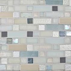 Magnificent blend of 1 inch, 1x3 inch, and 1x2 inch glass tiles in a brown, white, and blue color combination. This is a hand-made mosaic cr...