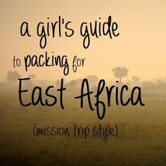My Africa Packing List. If you're looking to volunteer in Africa, visit us at www.unitedplanet.org. We'd love to have you on our team!