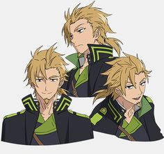 """Owari no Seraph - Daisuke Ono's  """"Seraph of the End"""" Character Design Showcased. Norito Goshi.  Norito is a Colonel of the Japanese Imperial Demon Army, and serves as a member of a team led by Guren. He excels in illusion than physical attacks, and covers Guren who mainly fights in close combat. He is sensual and loves beautiful women."""