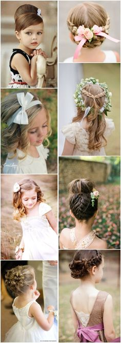 cute little girl hairstyles-updos, braids, waterfall / http://www.deerpearlflowers.com/super-cute-little-girl-hairstyles-for-wedding/