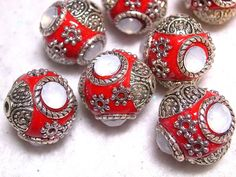 7 Ornate Indonesia Beads 15mm. Starting at $5 on Tophatter.com!