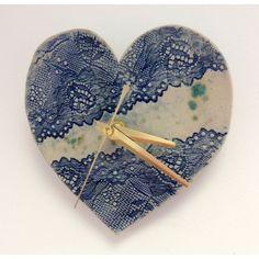 Blue Lace Ceramic Clock