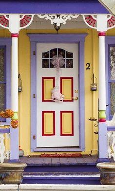 Colourful door in Grimsby, Ontario, Canada